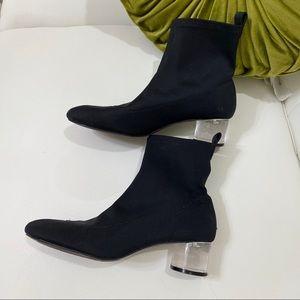 Clear heel sock boot